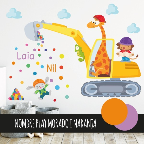 Excavadora con animales - Vinilo infantil para niños