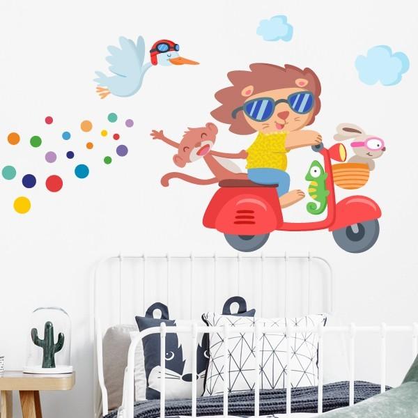 Vespa con animales - Vinilo decorativo infantil
