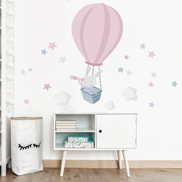 Vinils per nadó - Conillet explorador en globus. Rosa