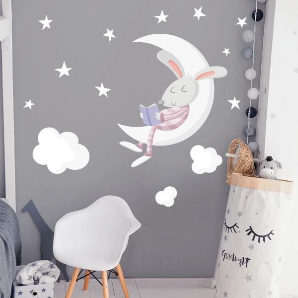 Conejito leyendo en la luna. Rosa – Vinilos decorativos para bebé