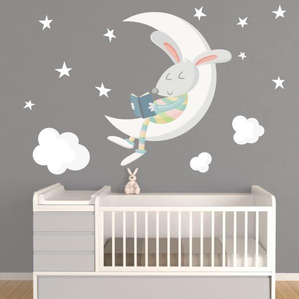 Conejito leyendo en la luna. Colores – Vinilos decorativos para bebé