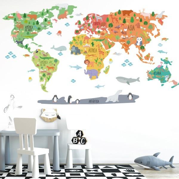 Carte du monde avec animaux - Sticker muraux chambre bébé