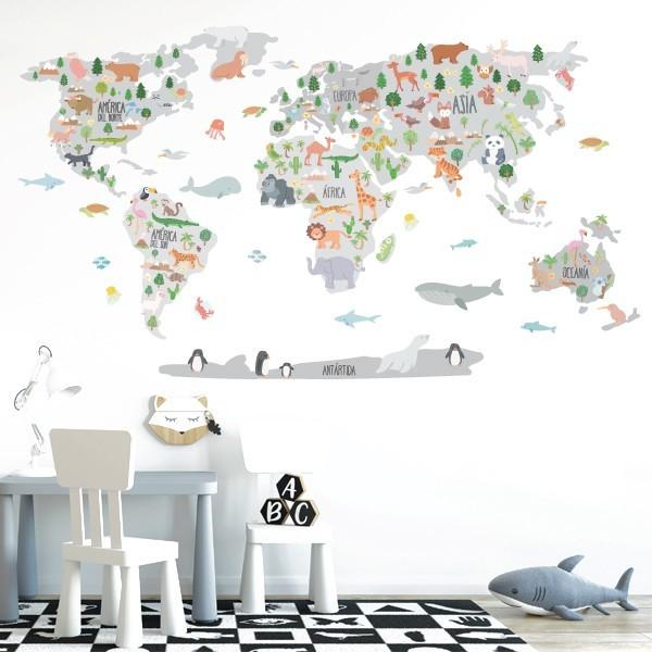 Mapa mundi amb dibuixos d'animals - Tons gris - Vinil decoratiu de paret