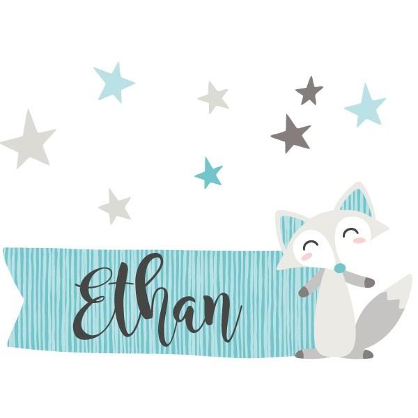 Le renard style nordique - Sticker prénom bébé