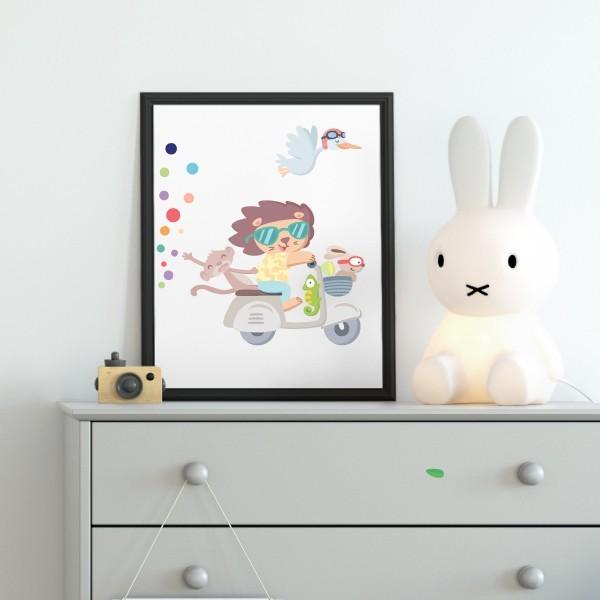 Lámina decorativa infantil - Moto con animales y confeti de colores