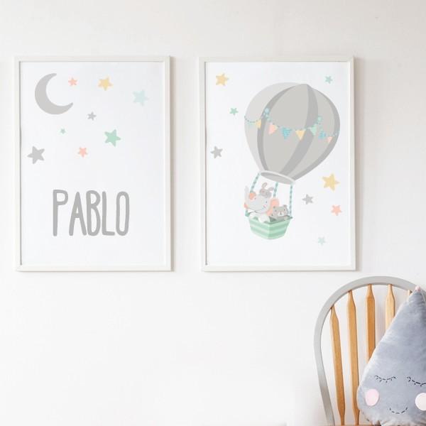 Pack de 2 láminas decorativas - Animales volando en globo