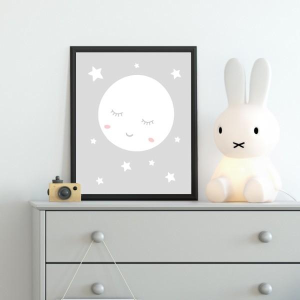 Làmina infantil - Lluna plena amb estrelles